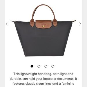 NWT Longchamp gunmetal grey gray depose pliage